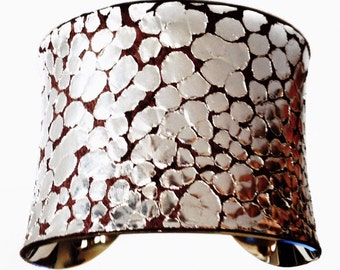 Metallic Silver Dragon Scale Print Leather Silver Lined Cuff - by UNEARTHED