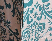 Designer Dog Crate Cover in ALL sizes - Dog Bed Duvet Covers - YOU Choose Fabric - Traditions Damask White/Turquoise shown