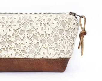 Linen and Lace Clutch. Leather Clutch. Brown Leather Bag. Makeup Bag. Travel Bag. Zippered Pouch. Bridesmaid Clutch. Rustic Wedding. Handbag