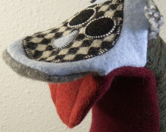 Handpuppet  named Linden made of seven recycled 100% wool sweaters