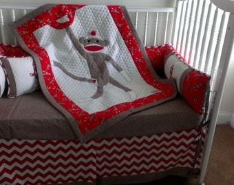 Sock Monkey Red Custom Made Crib Bedding Set