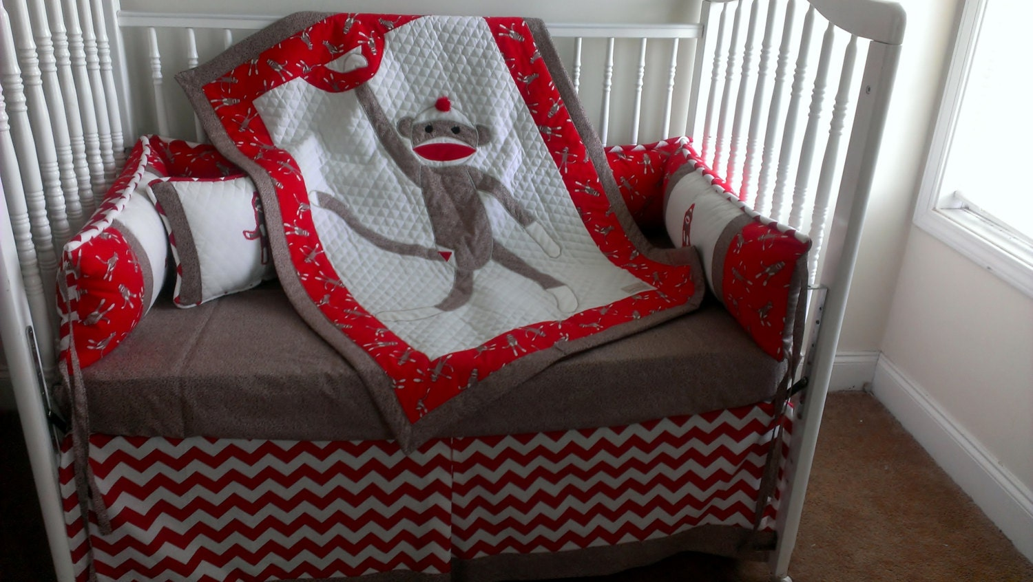 Sock Monkey Red Custom Made Crib Bedding Set For Trac4461