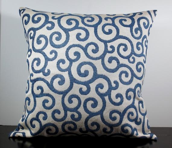 Blue Chenille Throw Pillows : Royal blue chenille scrolls decorative throw pillow cover 18
