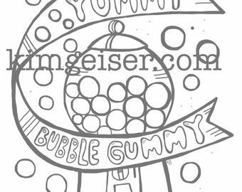 Yummy bubble gummy digital download