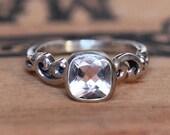 Pink morganite engagement ring morganite, bezel ring bezel engagement ring silver, non diamond engagement ring, water dream ring, custom