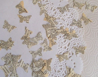 Wedding / party table butterfly confetti French vintage dictionary 100 pieces