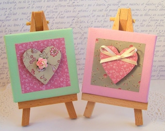 Mini original mixed media art heart canvases pink green cream with easels set of 2