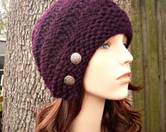 Knit Hat Womens Hat - Hybrid Swirl Cloche Hat in Eggplant  Purple Knit Hat -  Purple Hat Womens Accessories Winter Hat
