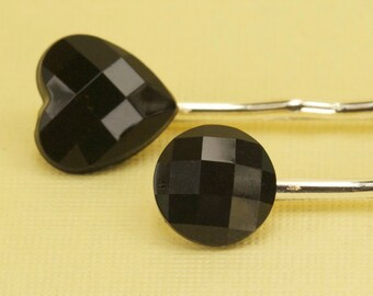 2 Vintage Black Faceted 1940s Button Hairpins