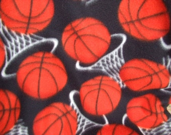 Polarfleece Blanket Throw  Basketball Pattern  55 inches long  orange basketballs