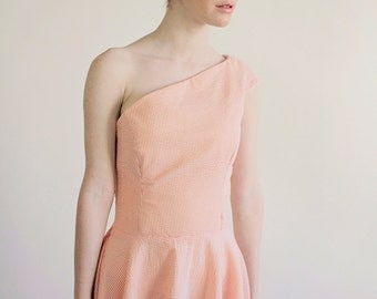 """Seersucker One Shoulder Dress """"Marnie"""" Asymmetrical Dress with Princess Seams and Off the Shoulder Peach"""