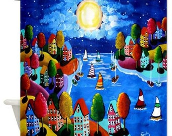 Colorful Night Sail Moon Sailboats Folk Art Whimsical Colorful Bathroom Shower Curtain