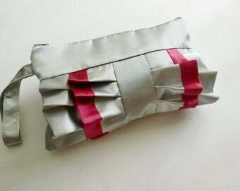 Silver and Rasberry Satin Ruffle Wristlet