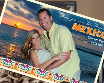 Engagement Photo Postcard Save the Date - Spanish Tiles - Design Fee