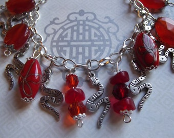 Red Silver Year of the Snake Chinese Astrology Beaded Charm Bracelet