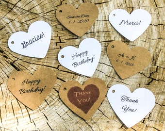 Heart Tags, Large Hearts, Set of 50, Gift Tags, Wedding Favor, Party Tag