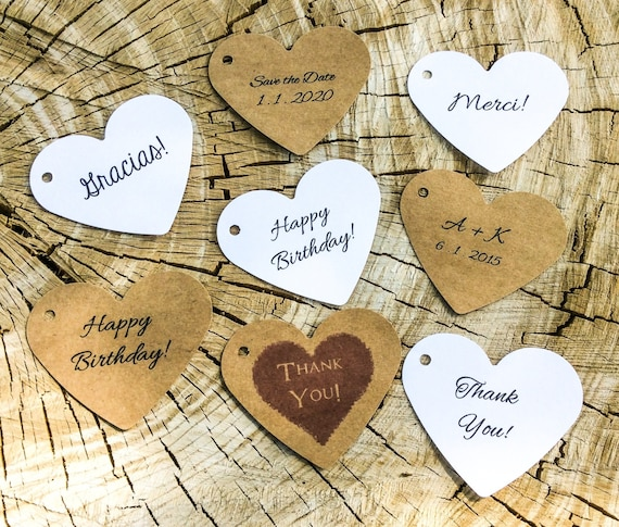 personalized heart tags, favor tags, wedding favors, product labels - Large, set of 50, 3 inch
