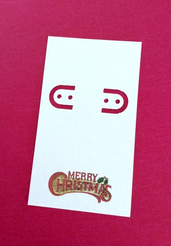 Christmas Personalized, 30 earring cards, lever back, Double Sided, holiday jewelry card
