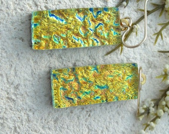 Dichroic Glass Earrings - Dangle - Dichroic Fused Glass Jewelry - Golden Earrings - 14KT GF Dangle Earrings  Dichroic Earrings 060214e102