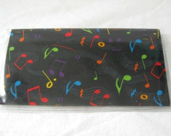 Music Checkbook Cover For Duplicate Checks Music Notes Cash Holder