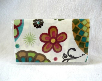 Business Card Holder Floral Cream Flowers Vinyl Mini Wallet