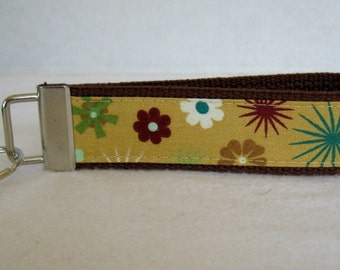 HALF OFF - Floral Key Fob -  Mustard - Tiny Flowers Key Chain - Large Fabric Keychain