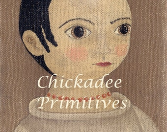 Primitive Folk Art Girl Portrait Emily