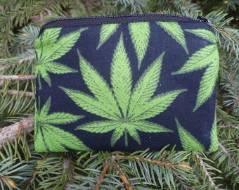 Cannabis leaf coin purse, gift card pouch, credit card pouch, The Raven
