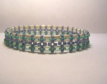 Plus size turquoise and pearl Tila and seed beed bangle bracelet