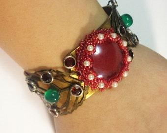 Beadwoven Crimson Red German Glass . Vintage Solid Brass Cuff . Leaves. White Pearls . Green Onyx - Fire and Grass by enchantedbeads on Etsy