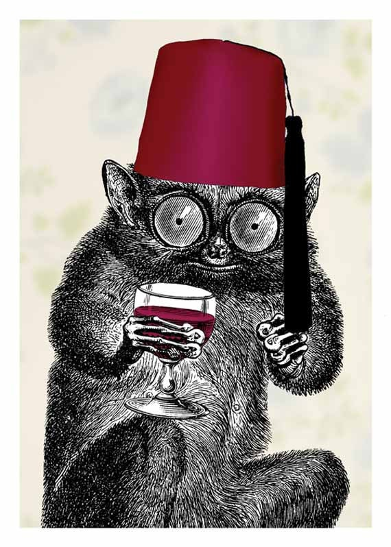 Drinking With My Fez - 5 x 7 Art Print - Tarsier - Animal - Wine - Alcohol