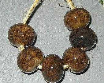 Urban Chic Brown Tweed Jacket Handmade Lampwork Beads Set  Rustic Gypsy Boho SRA