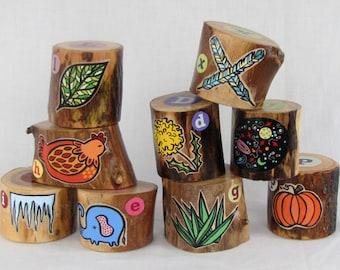 NINE Woodland Name Blocks - Personalized Set of Alphabet blocks - OOAK