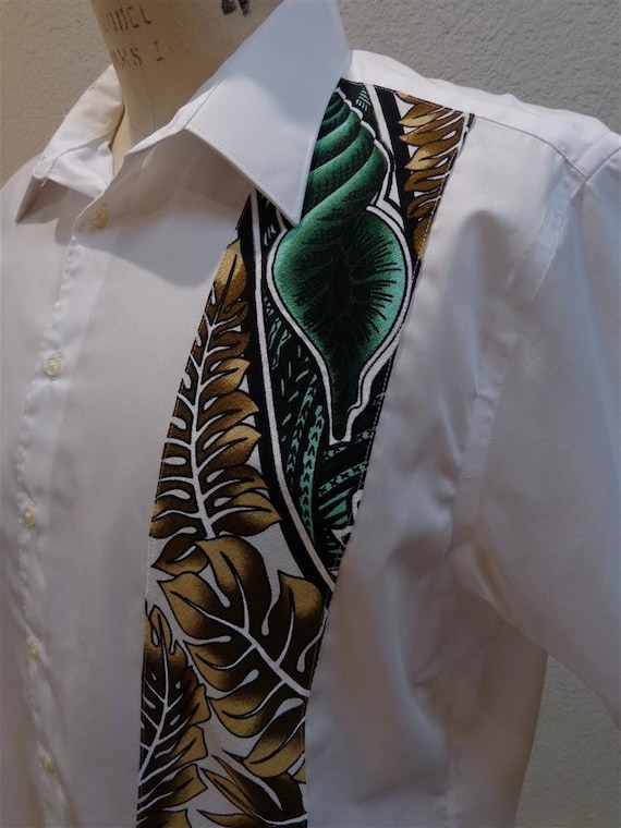 SALE White Aloha Shirt With Polynesian Green and Tan Fabric Detail CUSTOM SIZES available