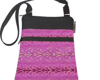 Cross Body Bag Shoulder Purse Sling Bag Small Travel Purse Fits eReaders HIPSTER - Pretty In Pink Fabric
