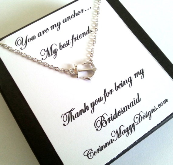 Bridesmaid gift, Sideways Anchor Necklace, Wedding Gift, Bridal Party ...