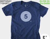 Fifth 5th Birthday Shirt, Kids Birthday TShirt, GLOW-IN-The-DARK, Boys Shirt, Girls, 5th Birthday, Fifth Birthday, Kids Birthday Party Favor