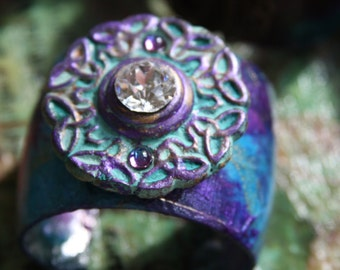Beauty Never Grows Old/Artist Designed Cuff/Unique Design/Bold Bracelet/One of a Kind
