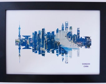 Shanghai, China Skyline Print with aerial city photo