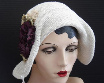 Creamy Off White Summer Hat With Aubergine Ribbon Flower And Dangle Beads On Sale