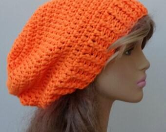 Orange slouchy beanie - Silk wool cashmere hat, Smooth baggy beanie, crochet hat, soft hat, slouch beanie, slouch hat, slouchy hat, neon hat