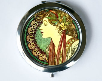 Art Nouveau Compact Mirror Pocket Mirror goddess green mucha