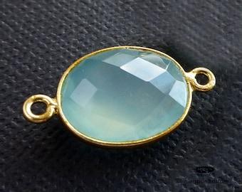 23mm (stone 16x13mm) Large Oval Aqua Blue Chalcedony Gold Bezel Connector Pendant F393- 1 pc