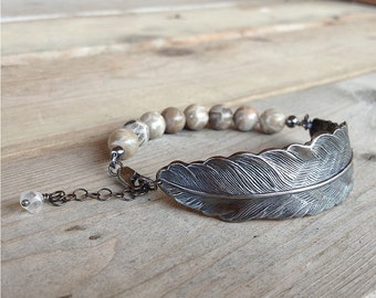 gunmetal feather bracelet with beautiful fossilized coral gemstone beads oxidized sterling silver