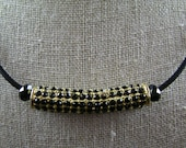 CLEARANCE !!!  Black and Gold Crystal Bar Necklace