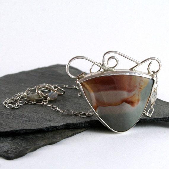 Orange, Grey Madagascar Jasper Stone - Sterling Silver Statement Necklace
