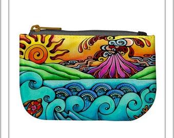Hawaiian Sunrise Volcano Printed Fabric Zipper Bag Fully Lined Art Coin Purse