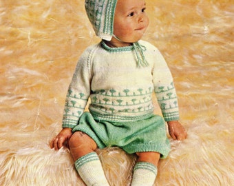 Babys Pram Set 1950s Pdf Vintage Knitting Pattern Bonnet Jumper Socks  Instant Download