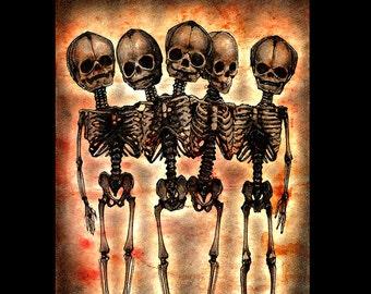 """Print 8x10"""" - Dead Man's Party 2 - Skull Skeleton Macabre Dark Art Horror Gothic Bones Taxidermy Death Zombie Surreal Fantasy Lowbrow Pop"""