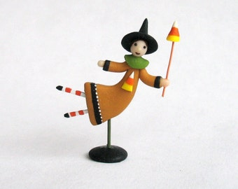 Miniature  Folk Art Flying Candy Corn Whimsy Witch OOAK by C. Rohal